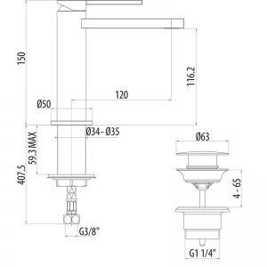 Miscelatore lavabo H 150 Cromato GATTONI