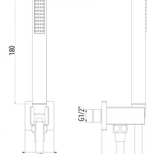 Presa d'acqua in ottone con supporto per doccetta Cromato GATTONI